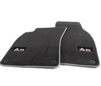 Текстильные коврики передние черные с серым кантом Audi A6, S6, RS 6