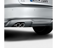Задний диффузор с накладкой для автомобилей с двойной выхлопной трубой, левой, с загрунтованной поверхностью Audi A3