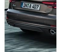 Задний диффузор для автомобилей с двойной выхлопной трубой слева, цвет черный матовый Audi A4