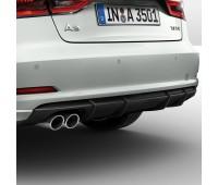 Задний диффузор для автомобилей с одинарной выхлопной трубой слева, цвет черный матовый Audi A3