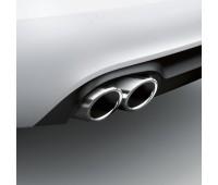 Спортивные насадки на выхлопную трубу для автомобилей с левой двойной выхлопной трубой, серебристо-хромированной Audi A4, A5, A6, Q5