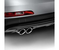 Спортивные насадки на выхлопную трубу для автомобилей с левой двойной выхлопной трубой, серебристо-хромированной Audi Q3